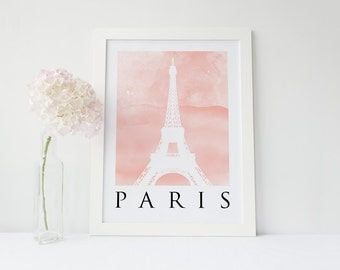PARIS - POSTER PRINT ~ Eiffel tower on a Blush Pink Watercolour background in A3 or A4