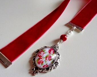 Red Velvet Ribbon Bookmark w/ Rose Cabochon