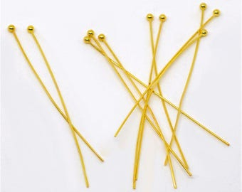50/100 - 50mm x 0.5mm Gold Plated Ball Pins