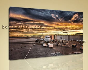 Large Airport Sunset Glow Hd Print Contemporary Art Painting Bedroom One Piece, Large sunset Wall Art, Bedroom, Domino
