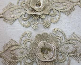 1Piece Vintage Gold Flower Applique/NA78-Antique Golden Thread Flower Applique/ Embroidered Applique/ Bridal Gown Applique/Vintage Applique/