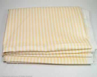 "Yellow stripe upholstery fabric, 2 yards polished cotton, crisp clean pillow fabric, summer decor, yellow white fabric destash, 54"" x 72"""