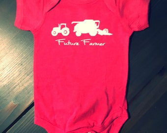 baby onesie. Red and white. Future farmer tractor combine