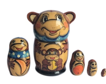 Monkey Nesting dolls matryoshka babushka russian nesting doll 5 pc Free Shipping plus free gift!