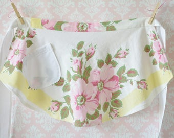 Pink Lemonade Aprons - Pink, Yellow and White Floral Half Aprons, Women, Girl, Mommy and Me Aprons, Vintage, Apron Set, Mother and Daughter
