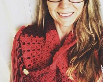 Fringe scarf / Fringe Shawl / Crochet Scarf / Shrug / Scarf with Buttons / knit scarf