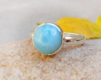 Natural Larimar Ring, Sterling Silver Larimar Ring, Dominican Republic Gemstone, Sky Blue larimar Bezel Ring Boho Rings Minimalist Rings