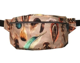 Feathers BUM BAG FANNY pack, Hands free Belt Bag, Hip Bag, Belt Pouch, Belt Bag