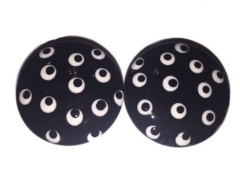 Black and White Pretty Polka Dot Hand Painted Drawer Pulls Knobs