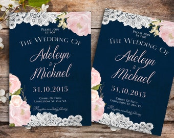 Navy blue Wedding Invitation - Rustic wedding Invitation, Barn Wedding Invitation, Printable wedding Invitation, lace wedding invitation