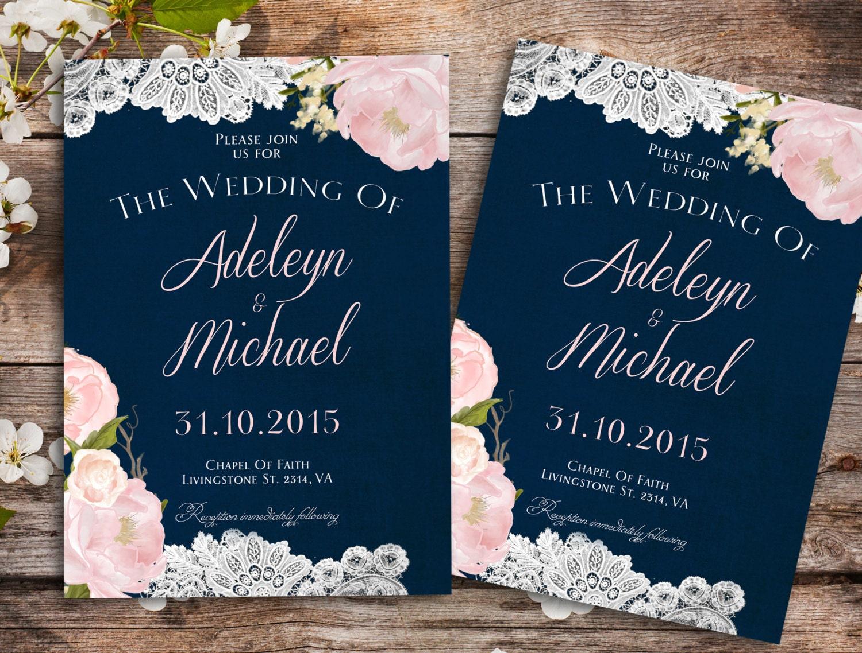 navy blue wedding invitations