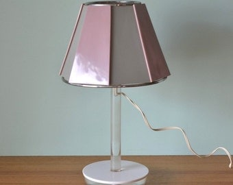 Vintage table lamp Dusty pink grey light No 722