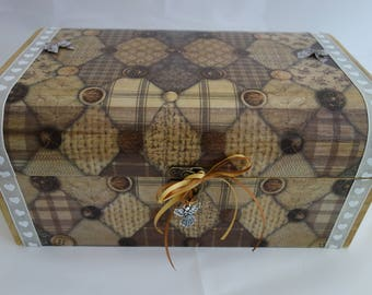 Patchwork design decoupage and ribbon wooden treasure chest box, for jewellery, keepsakes and treasured items.