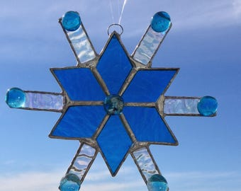 Stained Glass Snowflake Blue  | Stained Glass Star Suncatcher | Blue Snowflake Suncatcher | Christmas Star Sun Catcher