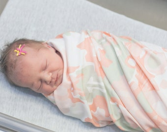 Coral Blanket, Swaddle Blanket with Beanie, Swaddle Set, Baby Blanket Set, Organic Baby Blanket, Newborn Photo Prop, Newborn Blanket Set