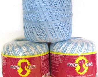 South Maid 100% Mercerised Cotton Crochet Thread Colorfast Coats and Clark  3 Large Spools/Skeins Size 10 / 274 yds ea. Varigated and Solid