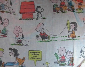 "Vintage Peanuts Flat Bedsheet, Snoopy, Charlie Brown, Lucy, Linus, Large 96"" x 81"" Sheet,  Cartoon Bedsheet"
