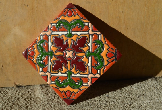 These 6 Pieces Of Colorful Furniture Are Absolute Must Haves: 6 Mexican Talavera Tiles Handmade Hand Painted 4 X