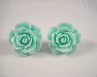 Mint Green Rose Post Earrings Flower Jewelry Studs