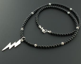 925 Sterling Silver 4mm Black Onyx Lightning Bolt Necklace
