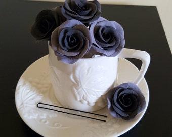Wedding Hair Pin with black Roses Wedding Accessories Bridal Hair Pin Gothic  Wedding Flower
