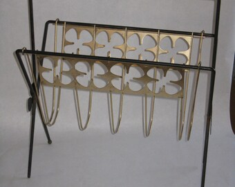 Mid Century Modern magazine rack four leaf clover brass black metal