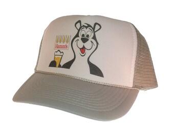Hamm's beer bear hat Trucker Hat Snap Back Hat adjustable gray