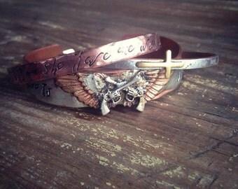 Miranda Lambert Roots and Wings cuff bracelet, Bullet Jewelry, Bohemian Hippie Cowgirl Gypsy Cuff Bracelet