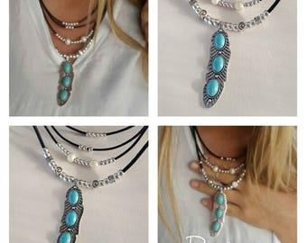Boho leather, turqouise necklace