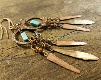 Boho Earrings, Copper Earrings, Chandelier Earrings, Southwestern Earrings, Metal Earrings