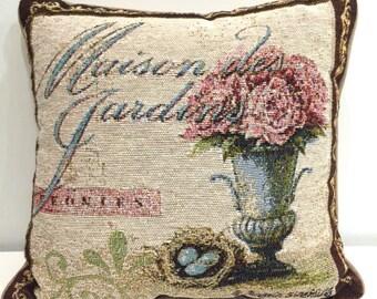 Maison des Jardins Pillow, French Pillow, Floral Pillow, Pink Flowers