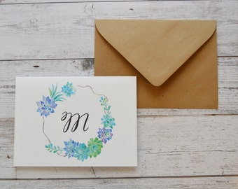 Watercolor Stationary Cards, Monogram Stationary Cards, Watercolor Succulent Wreath, Greeting Cards