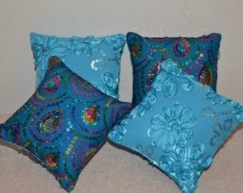 "American Doll Pillows (4) *** Rainbow sequins & Turquoise ribbon embellished ***  fits 18"" dolls - FREE SHIPPING -- Doll Furniture"