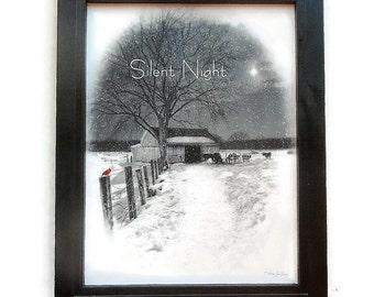 Christmas Decor, Silent Night, Holiday Decoration, Snow Scene, Art Print, Wall Hanging, Handmade, Custom Wood Frame, Made in the USA