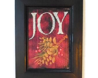 Joy, Christmas Sign, Wall Hanging, Holiday Decoration, Christmas Display, Art Print, Handmade, 9x7, Custom Wood Frame, Made in the USA