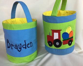 Easter basket - Tractor Easter Basket - Personalized Easter Basket - Tractor & Egg Easter Basket - Egg Hunt - Embroidered Easter Basket - Ea