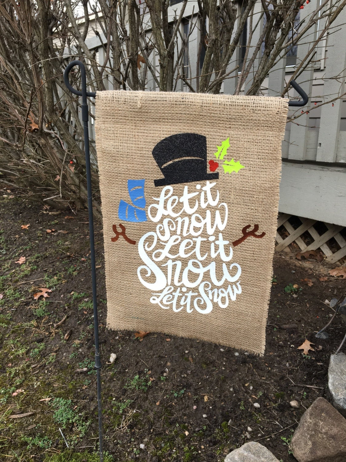 snowman garden flag burlap flag let it snow flag snowman