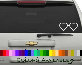 Heart-Shaped Glasses Car Decal