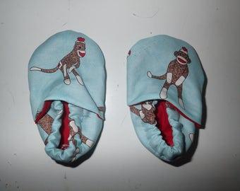 Mint Sock Monkey crib shoes OR Ergo Covers