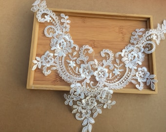 Good Quality Embroidery Corded Bridal Collar Lace Applique, Sell By piece