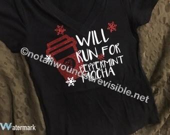Will Run For Peppermint Mocha V Neck Women's T Shirt