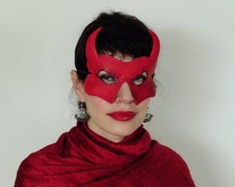 Red Devil horned leather mask