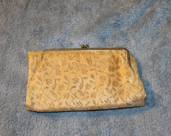 Vintage Fold Over Clutch for Special Occasions or Evening Events, Gold in Coloring & Twist Snap Shut.  Room for ID and Credit Cards, etc.
