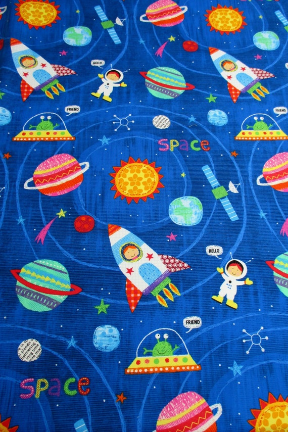 Fabric my space friend space kids rockets planets on for Space fabric by the yard