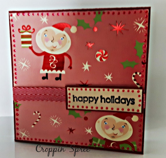 Christmas Card. Ready to Ship. One of a Kind Handmade. Santa Claus clowning around