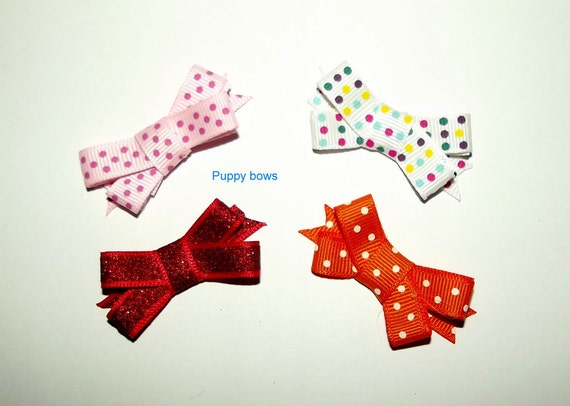 Puppy Bows ~4 girls double loop ribbon snap clips dog bow barrette ~Usa seller