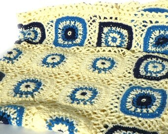 Vintage Hand Crocheted Afghan Blue Granny Square Pattern