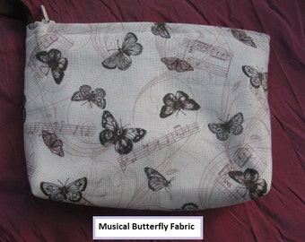 Musical Butterfly make up/cosmetics bag