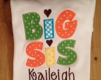 "Orange, turquoise, lime, yellow, and brown ""Big Sis"" Embroidered Shirt or Baby Bodysuit"
