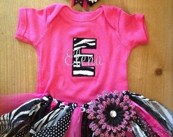 Hot Pink, Zebra, and Polka Dots Scrap Fabric Tutu Outfit